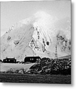port lockroy british Antarctica trust base museum with anvers island in the background Metal Print