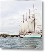 Juan Sebastian De Elcano Famous Tall Ship Of Spanish Navy Visits Port Mahon In Front Of Bloody Islan Metal Print