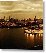 Port Miami Golden Photopaint Metal Print