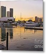 Port Of Miami At Sunset Metal Print