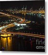 Port Of Miami Macarthur Causeway Metal Print