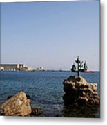 Port Of The Myloi And Dolphins - Rhodos Citys Metal Print