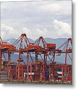 Port Of Vancouver Bc Cranes And Containers Metal Print