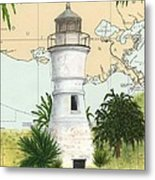Port Pontchartrain Lighthouse La Chart Map Art Metal Print