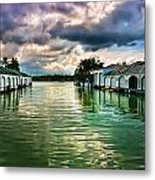 Storm Clouds Over  Port Royal Boathouses In Naples Metal Print