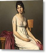 Portait Of A Young Woman In White Metal Print