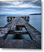Portencross Pier  And Views To Arran Metal Print