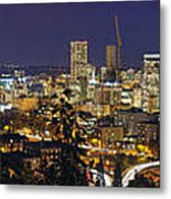 Portland Cityscape And Freeway At Blue Hour Metal Print