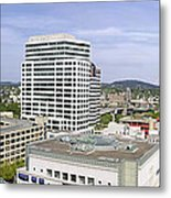 Portland Downtown Cityscape With River And Mountain Metal Print