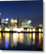 Portland Downtown Out Of Focus City Lights Metal Print