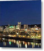Portland Downtown Skyline At Blue Hour Metal Print