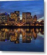 Portland Downtown Skyline At Blue Hour Panorama Metal Print