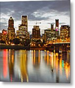 Portland Downtown Skyline At Sunset Metal Print