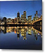 Portland Downtown Skyline By Hawthorne Bridge At Blue Hour Panor Metal Print