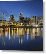 Portland Downtown With Hawthorne Bridge At Blue Hour Metal Print