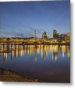 Portland Downtown With Hawthorne Bridge At Dusk Metal Print