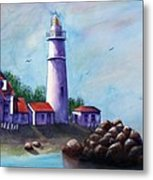 Portland Head In Shade Metal Print