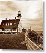 Portland Head Lighthouse In Sepia Metal Print