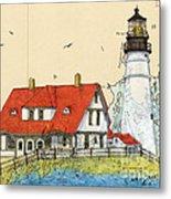 Portland Head Lighthouse Me Nautical Chart Map Art Metal Print
