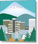 Portland Oregon Vertical Skyline Metal Print