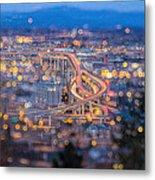 Portland Marquam Freeway With Bokeh Lights Metal Print