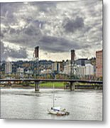 Portland Oregon Downtown Along Willamette River Metal Print
