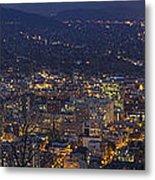 Portland Oregon Downtown Cityscape At Blue Hour Metal Print