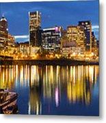 Portland Oregon Downtown Waterfront At Blue Hour Metal Print