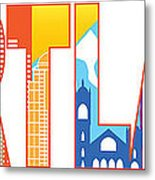 Portland Oregon Skyline Text Outline Color Illustration Metal Print
