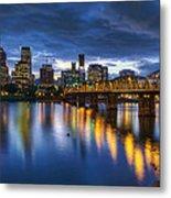 Portland Oregon Waterfront At Blue Hour Metal Print