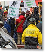 Portland Police Controlling Occupy Portland Crowd Of Protesters Metal Print
