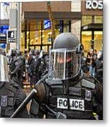 Portland Police In Riot Gear Closeup Metal Print