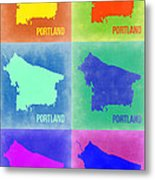 Portland Pop Art Map 3 Metal Print