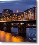 Portland Skyline And Hawthorne Bridge Metal Print