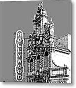 Portland Skyline Hollywood Theater - Pewter Metal Print