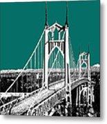 Portland Skyline St. Johns Bridge - Sea Green Metal Print