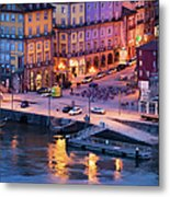 Porto Old Town In Portugal At Dusk Metal Print