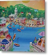 Portofino, Italy, 2012 Acrylic On Canvas Metal Print