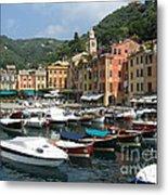 Portofino Port Entrance Metal Print
