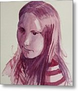 Portrait In Burgundy  Metal Print