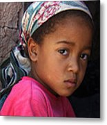 Portrait Of A Berber Girl Metal Print by Ralph A  Ledergerber-Photography