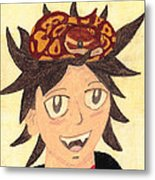Portrait Of A Boy With A Ball Python On His Head Metal Print