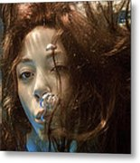 Portrait Of A Girl Under Water Metal Print