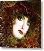 Portrait Of A Lady With A Red Hat Metal Print by Doris Wood