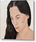 Portrait Of A Long Haired Filipina Beautfy With A Mole On Her Cheek Metal Print by Jim Fitzpatrick