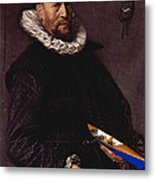 Portrait Of A Man Holding A Skull 1612 Metal Print