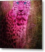 Portrait Of A Pink Leopard Metal Print