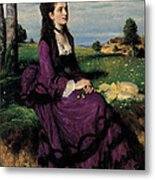 Portrait Of A Woman In Lilac Metal Print