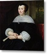 Portrait Of A Woman Oil On Canvas Metal Print