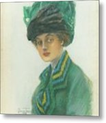 Portrait Of A Woman Wearing A Green Gown Metal Print